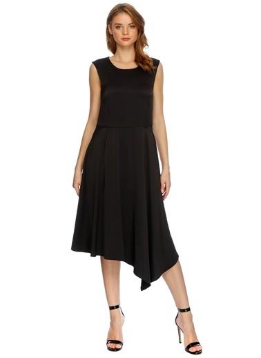 House Of Camellia Volanlı Midi Boy Elbise Siyah